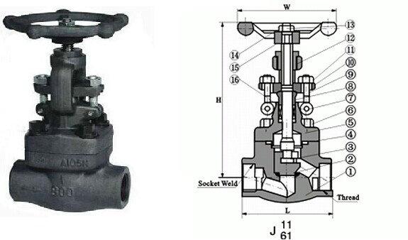 承插焊截止阀结构图